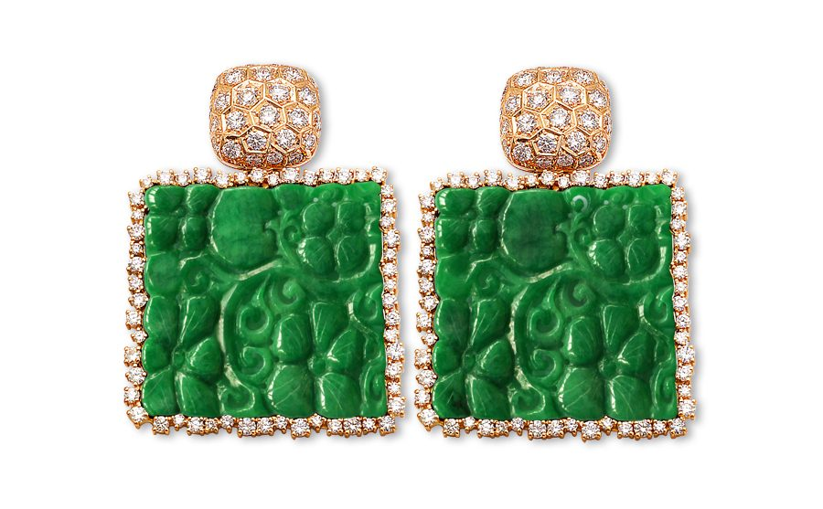Johannes Hundt Burma jade, Erarrings, Ohrringe, Brillanten, Diamonds, High Jewellery Design