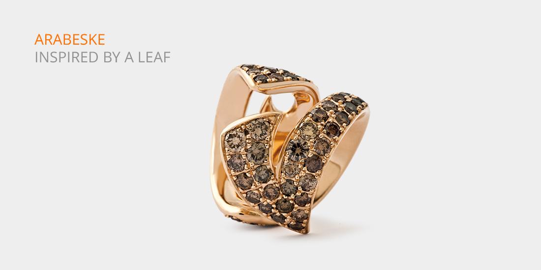 Johannes Hundt Ring Arabeske braune Diamanten