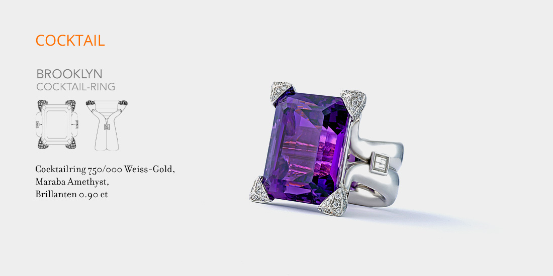 Johannes Hundt, Brooklyn, Cocktail-Ring, Amethyst,