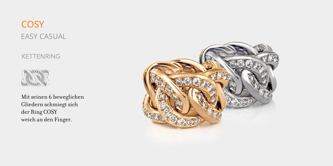COSY Kettenring,Gold,Palladium, Diamanten, diamonds
