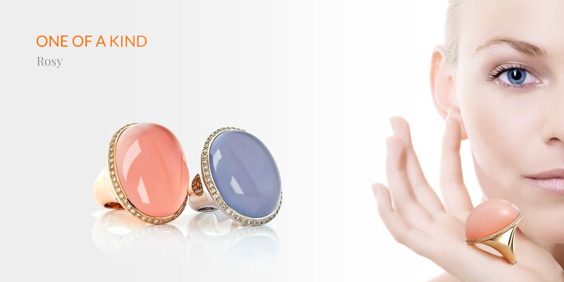 Cocktail-Ring, Rosenquarz, Rose quartz, 750/000 Rosé Gold, Diamanten, diamonds